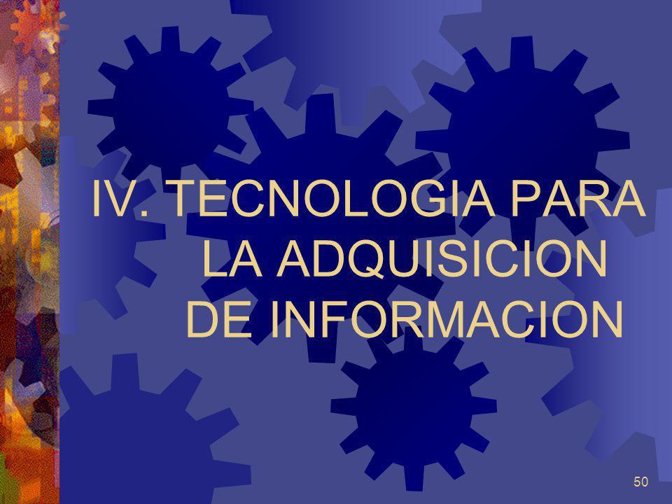 50 IV.TECNOLOGIA PARA LA ADQUISICION DE INFORMACION