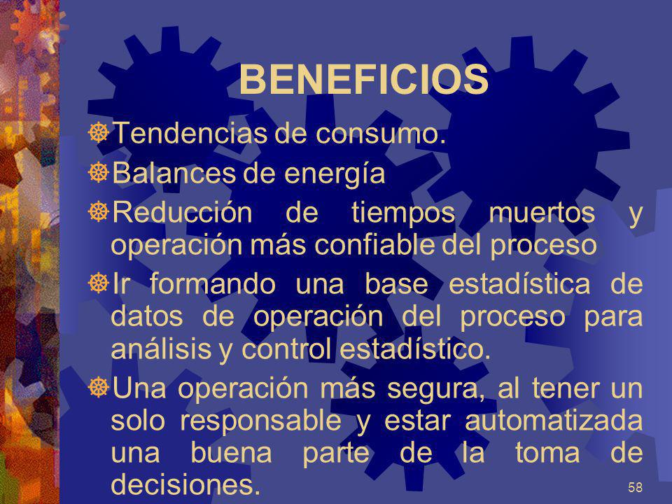 58 BENEFICIOS Tendencias de consumo. Balances de energía Reducción de tiempos muertos y operación más confiable del proceso Ir formando una base estad