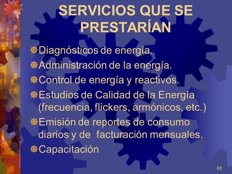 60 SERVICIOS QUE SE PRESTARÍAN Diagnósticos de energía. Administración de la energía. Control de energía y reactivos. Estudios de Calidad de la Energí