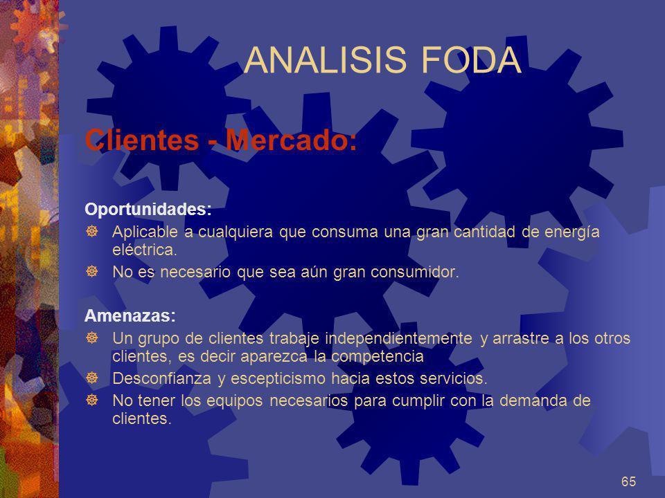 65 ANALISIS FODA Clientes - Mercado: Oportunidades: Aplicable a cualquiera que consuma una gran cantidad de energía eléctrica. No es necesario que sea