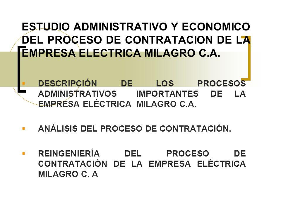 ESTUDIO ADMINISTRATIVO Y ECONOMICO DEL PROCESO DE CONTRATACION DE LA EMPRESA ELECTRICA MILAGRO C.A. DESCRIPCIÓN DE LOS PROCESOS ADMINISTRATIVOS IMPORT