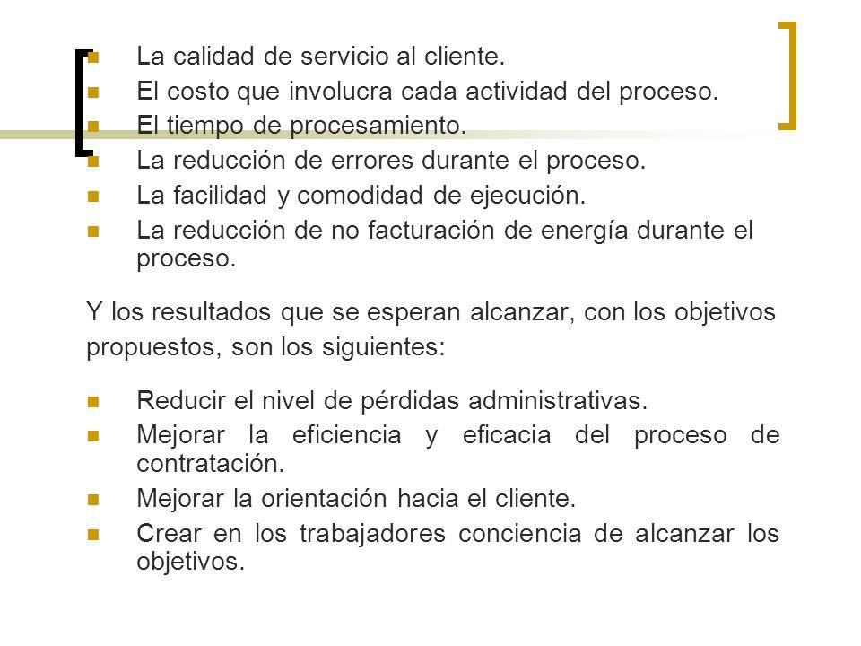 La calidad de servicio al cliente. El costo que involucra cada actividad del proceso. El tiempo de procesamiento. La reducción de errores durante el p