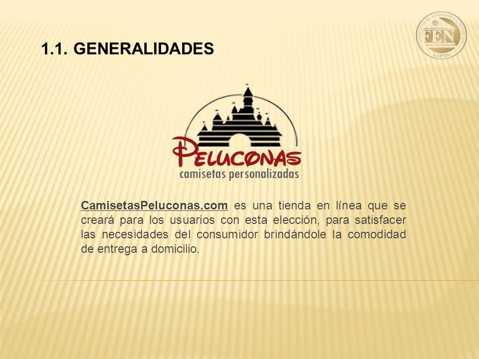 CamisetasPeluconas.com es una tienda en línea que se creará para los usuarios con esta elección, para satisfacer las necesidades del consumidor brindándole la comodidad de entrega a domicilio.