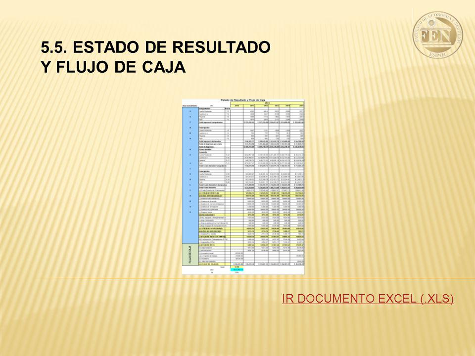 5.5. ESTADO DE RESULTADO Y FLUJO DE CAJA IR DOCUMENTO EXCEL (.XLS)