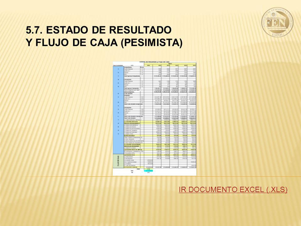 5.7. ESTADO DE RESULTADO Y FLUJO DE CAJA (PESIMISTA) IR DOCUMENTO EXCEL (.XLS)