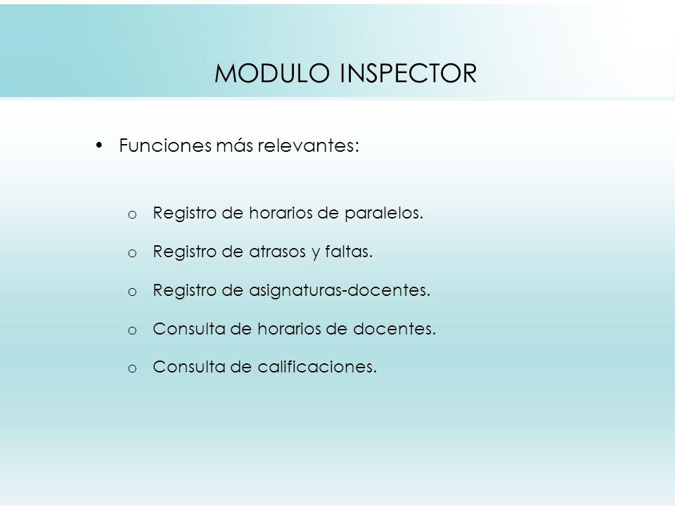 MODULO INSPECTOR Funciones más relevantes: o Registro de horarios de paralelos.
