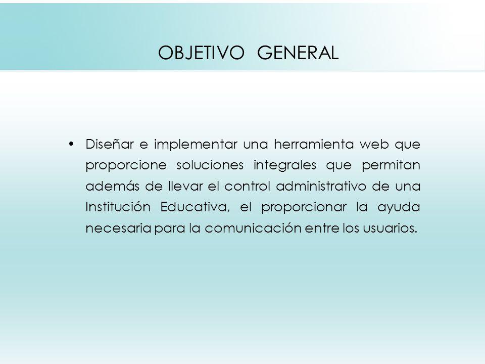 OBJETIVOS ESPECÍFICOS Garantizar el control de las actividades básicas que una Institución Educativa requiere.