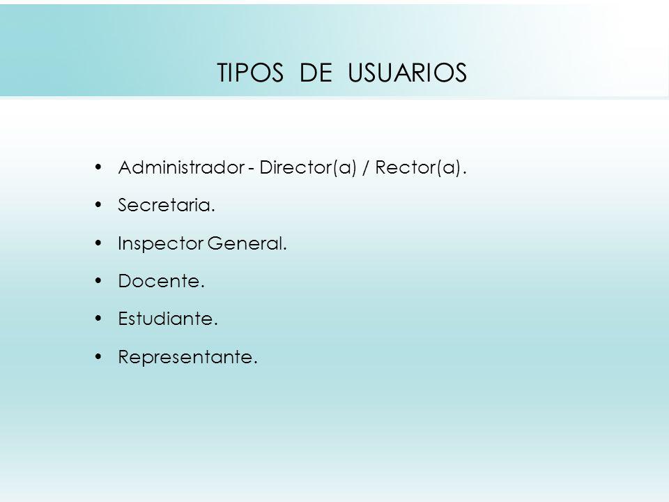 TIPOS DE USUARIOS Administrador - Director(a) / Rector(a).
