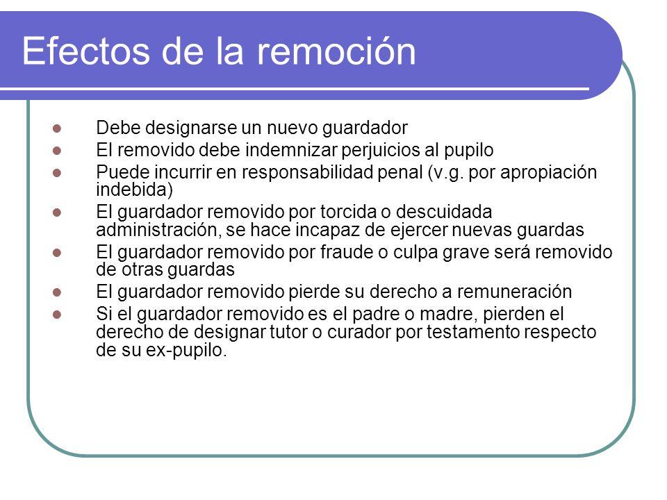 Efectos de la remoción Debe designarse un nuevo guardador El removido debe indemnizar perjuicios al pupilo Puede incurrir en responsabilidad penal (v.