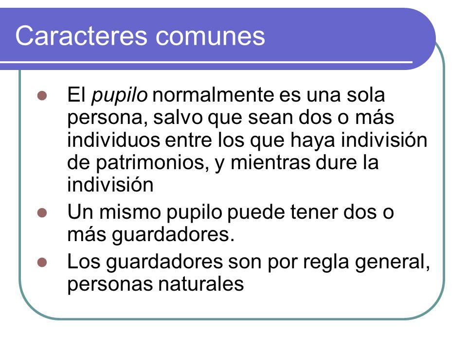 Caracteres comunes El pupilo normalmente es una sola persona, salvo que sean dos o más individuos entre los que haya indivisión de patrimonios, y mientras dure la indivisión Un mismo pupilo puede tener dos o más guardadores.