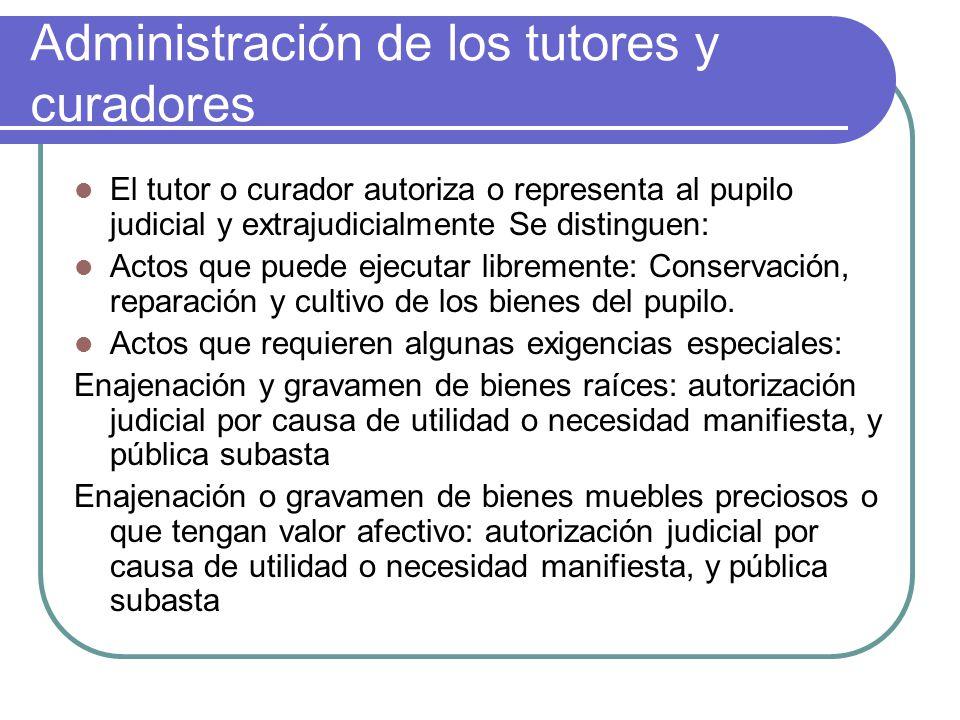 Administración de los tutores y curadores El tutor o curador autoriza o representa al pupilo judicial y extrajudicialmente Se distinguen: Actos que pu