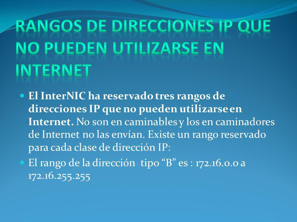El InterNIC ha reservado tres rangos de direcciones IP que no pueden utilizarse en Internet.