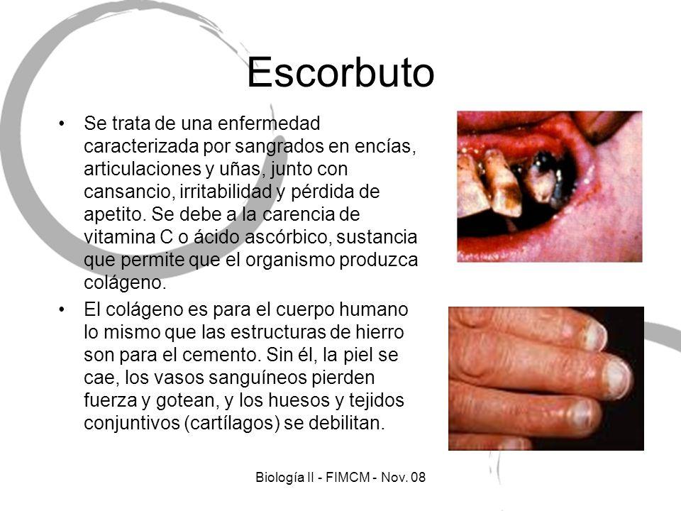 Escorbuto Se trata de una enfermedad caracterizada por sangrados en encías, articulaciones y uñas, junto con cansancio, irritabilidad y pérdida de apetito.