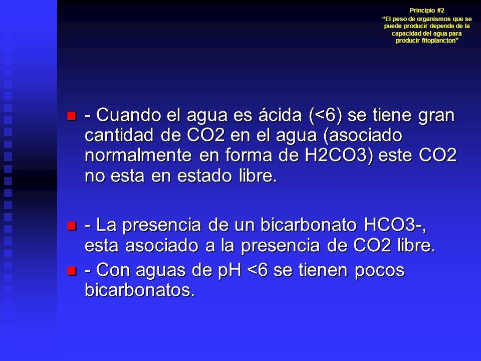 - Cuando el agua es ácida (<6) se tiene gran cantidad de CO2 en el agua (asociado normalmente en forma de H2CO3) este CO2 no esta en estado libre. - C