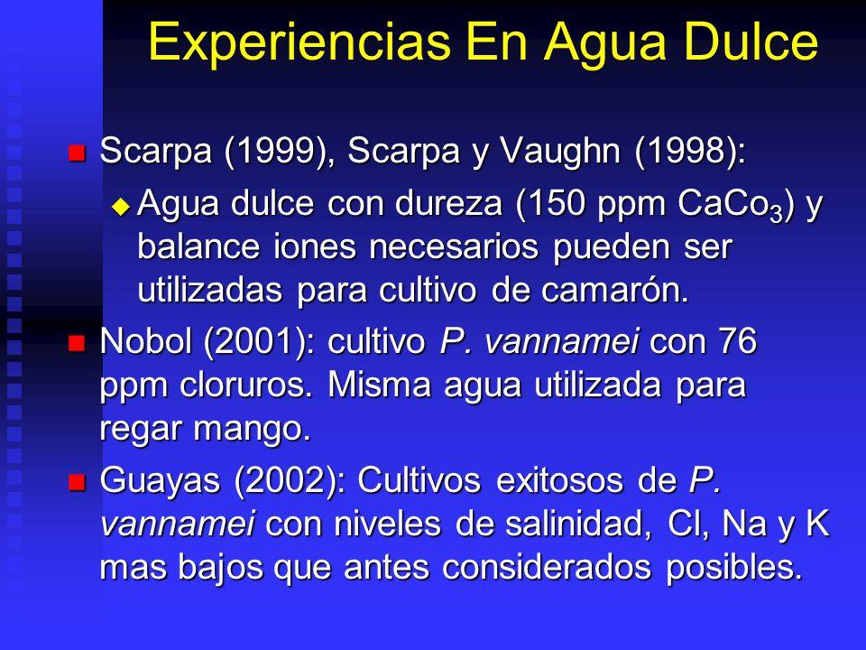 Experiencias En Agua Dulce Scarpa (1999), Scarpa y Vaughn (1998): Scarpa (1999), Scarpa y Vaughn (1998): Agua dulce con dureza (150 ppm CaCo 3 ) y balance iones necesarios pueden ser utilizadas para cultivo de camarón.