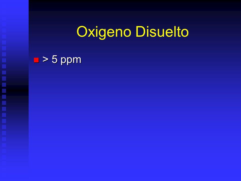 Oxigeno Disuelto > 5 ppm > 5 ppm