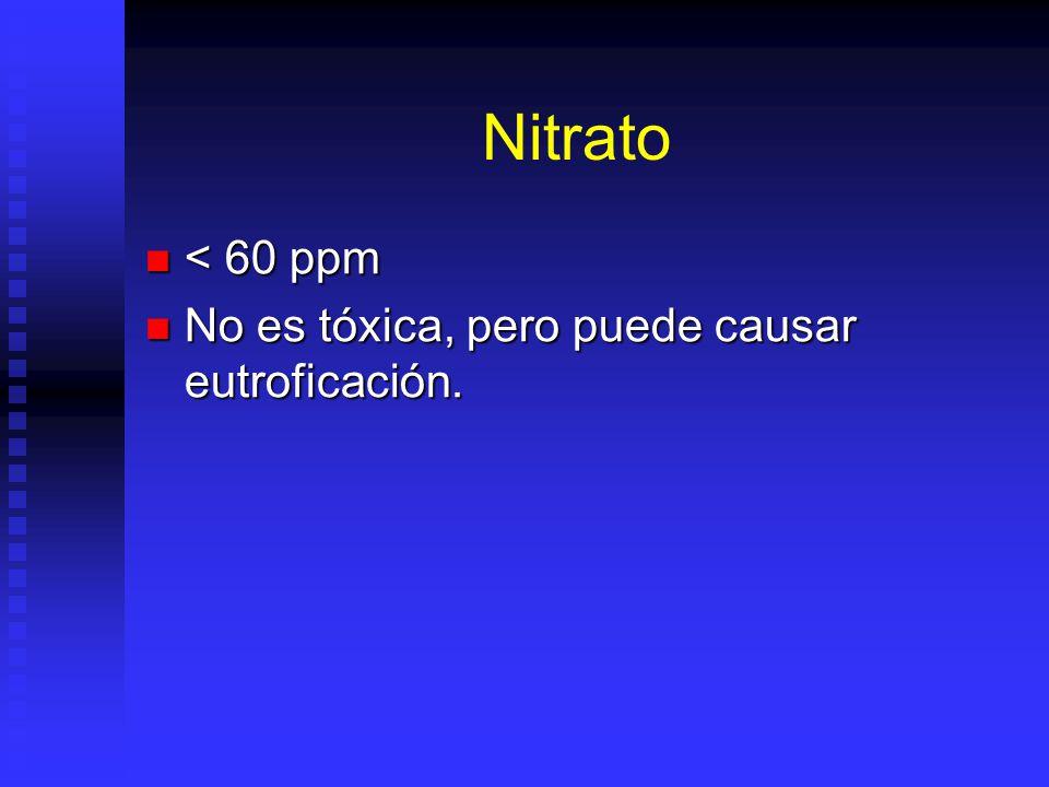Nitrato < 60 ppm < 60 ppm No es tóxica, pero puede causar eutroficación. No es tóxica, pero puede causar eutroficación.