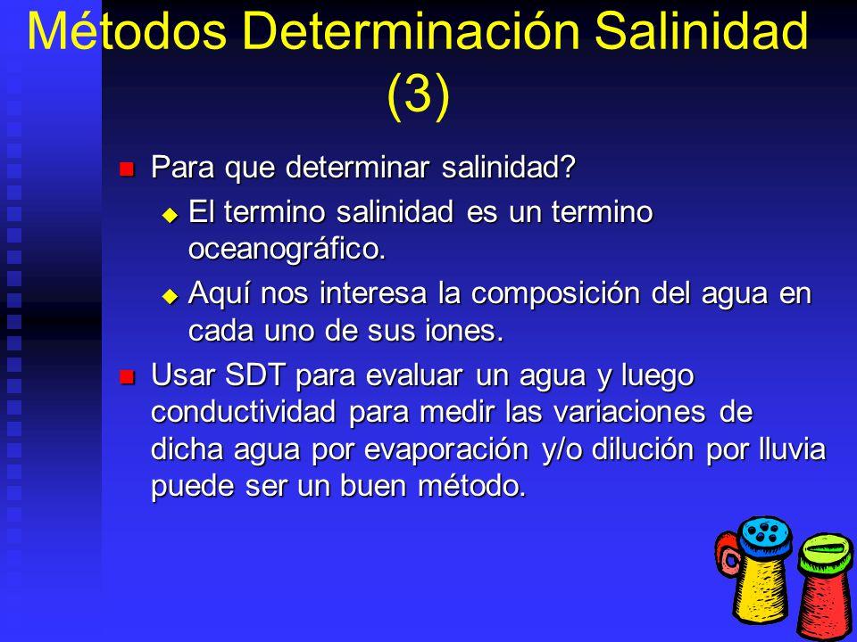 Métodos Determinación Salinidad (3) Para que determinar salinidad? Para que determinar salinidad? El termino salinidad es un termino oceanográfico. El