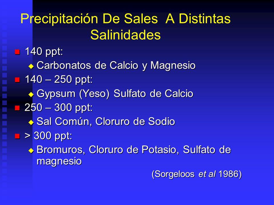 Precipitación De Sales A Distintas Salinidades 140 ppt: 140 ppt: Carbonatos de Calcio y Magnesio Carbonatos de Calcio y Magnesio 140 – 250 ppt: 140 – 250 ppt: Gypsum (Yeso) Sulfato de Calcio Gypsum (Yeso) Sulfato de Calcio 250 – 300 ppt: 250 – 300 ppt: Sal Común, Cloruro de Sodio Sal Común, Cloruro de Sodio > 300 ppt: > 300 ppt: Bromuros, Cloruro de Potasio, Sulfato de magnesio Bromuros, Cloruro de Potasio, Sulfato de magnesio (Sorgeloos et al 1986)