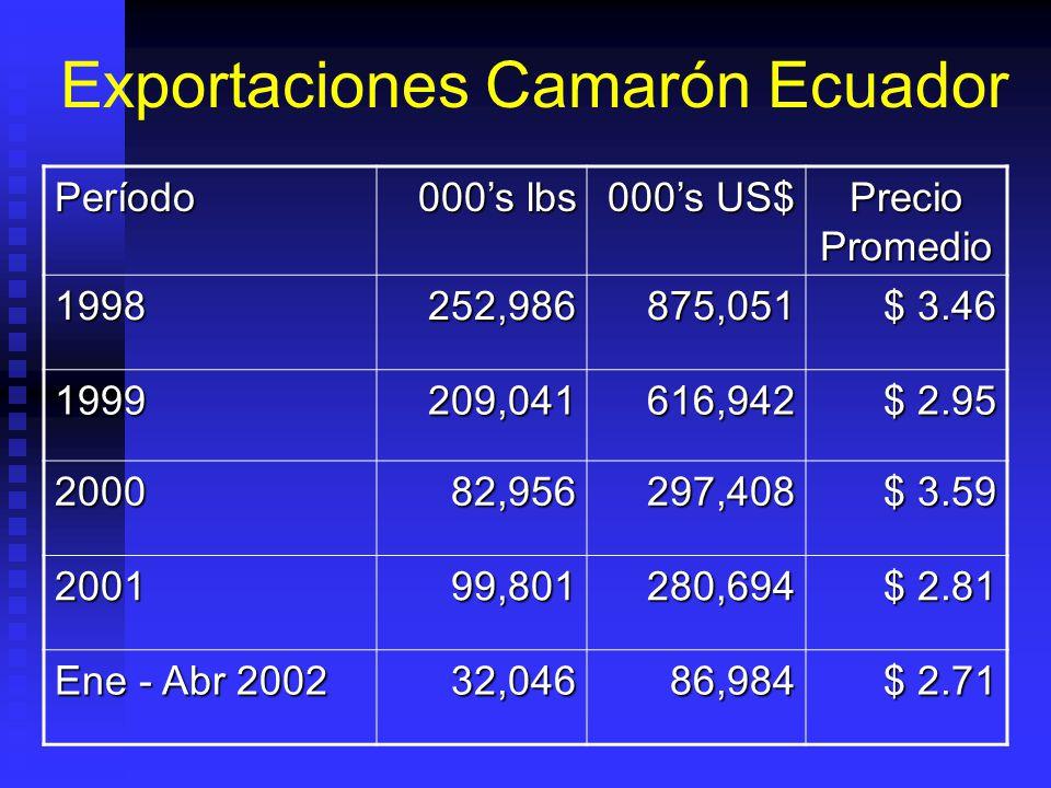 Exportaciones Camarón Ecuador Período 000s lbs 000s US$ Precio Promedio 1998252,986875,051 $ 3.46 1999209,041616,942 $ 2.95 200082,956297,408 $ 3.59 200199,801280,694 $ 2.81 Ene - Abr 2002 32,04686,984 $ 2.71