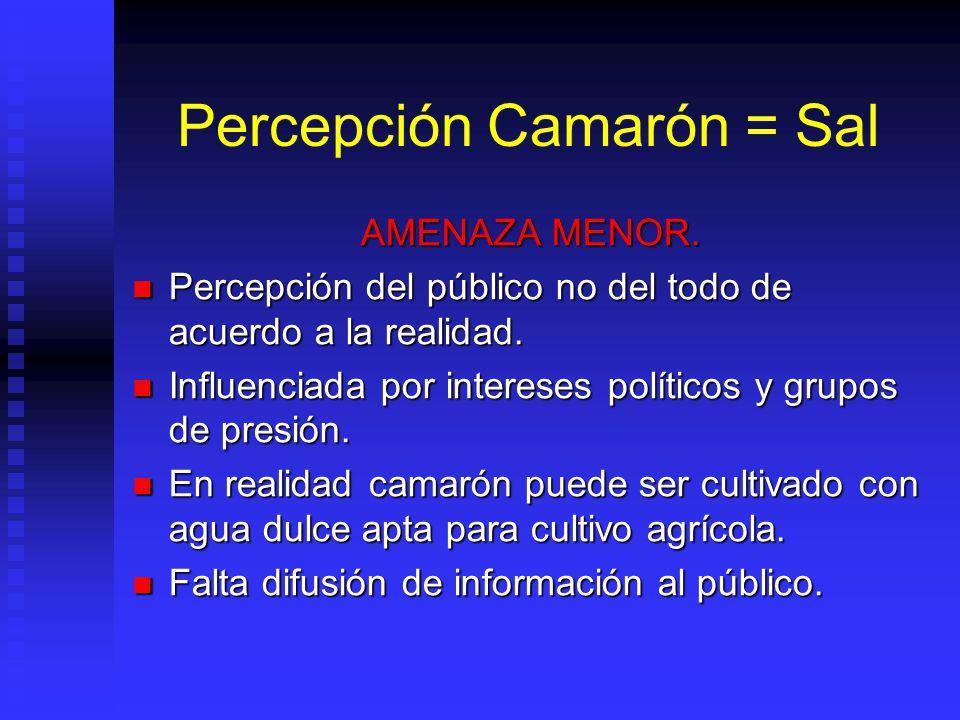 Percepción Camarón = Sal AMENAZA MENOR. Percepción del público no del todo de acuerdo a la realidad. Percepción del público no del todo de acuerdo a l