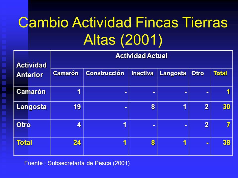 Cambio Actividad Fincas Tierras Altas (2001) ActividadAnterior Actividad Actual CamarónConstrucciónInactivaLangostaOtroTotal Camarón1----1 Langosta19-81230 Otro41--27 Total24181-38 Fuente : Subsecretaría de Pesca (2001)
