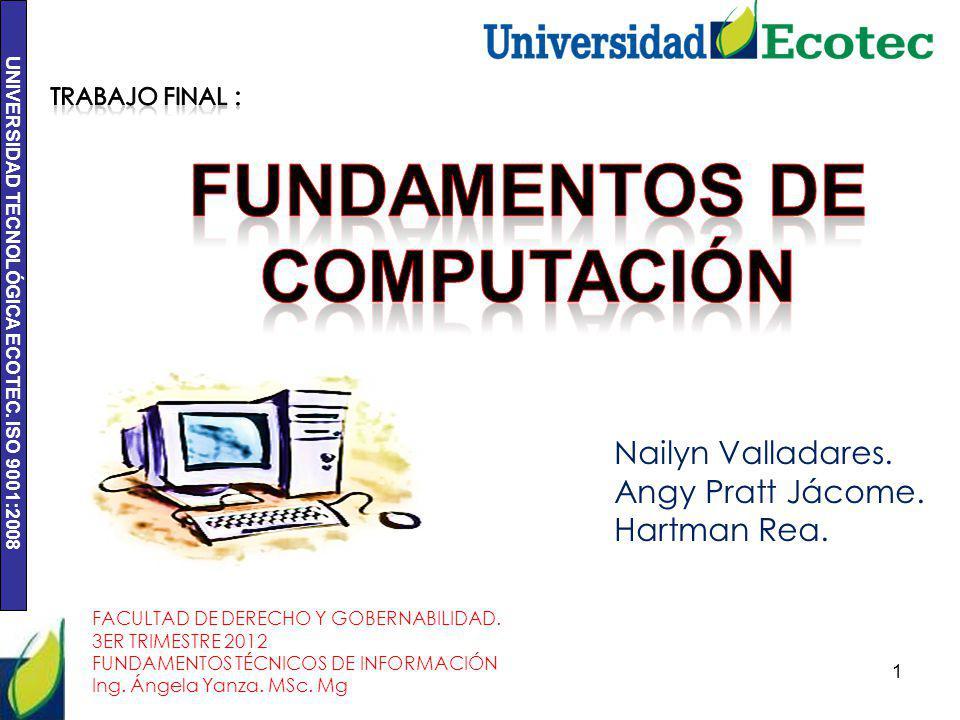 UNIVERSIDAD TECNOLÓGICA ECOTEC. ISO 9001:2008 1 Nailyn Valladares. Angy Pratt Jácome. Hartman Rea. FACULTAD DE DERECHO Y GOBERNABILIDAD. 3ER TRIMESTRE