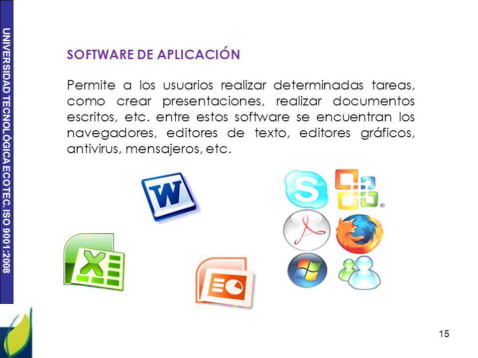 UNIVERSIDAD TECNOLÓGICA ECOTEC. ISO 9001:2008 15 SOFTWARE DE APLICACIÓN Permite a los usuarios realizar determinadas tareas, como crear presentaciones