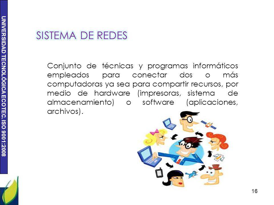 UNIVERSIDAD TECNOLÓGICA ECOTEC. ISO 9001:2008 16 Conjunto de técnicas y programas informáticos empleados para conectar dos o más computadoras ya sea p