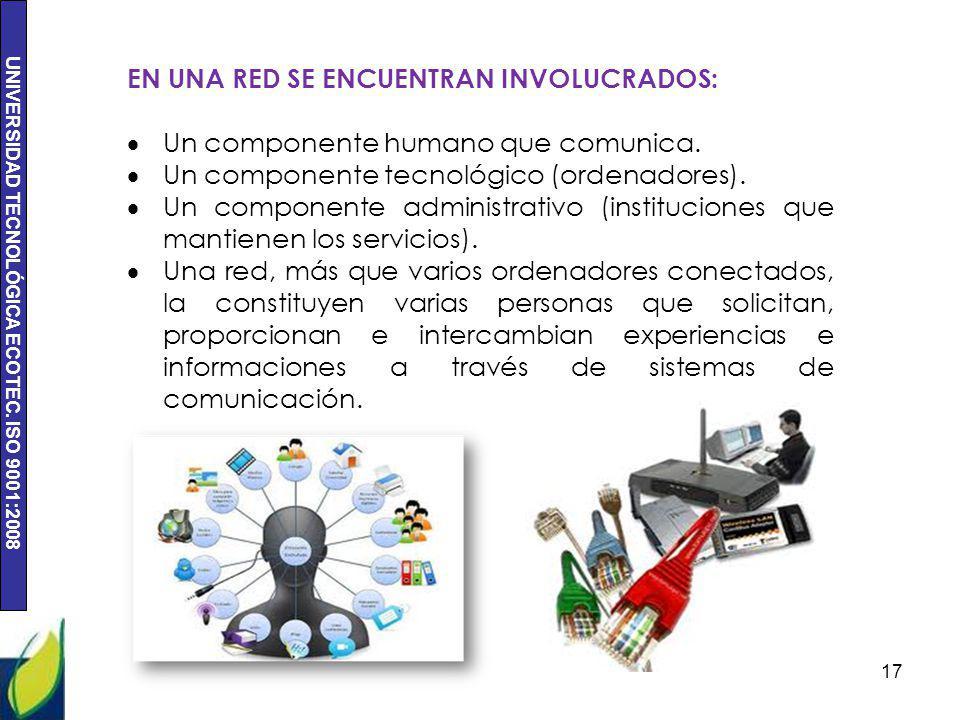 UNIVERSIDAD TECNOLÓGICA ECOTEC. ISO 9001:2008 17 EN UNA RED SE ENCUENTRAN INVOLUCRADOS: Un componente humano que comunica. Un componente tecnológico (