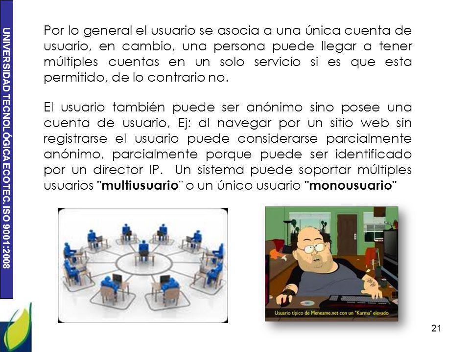 UNIVERSIDAD TECNOLÓGICA ECOTEC. ISO 9001:2008 21 Por lo general el usuario se asocia a una única cuenta de usuario, en cambio, una persona puede llega