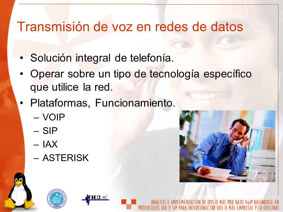 Solución integral de telefonía. Operar sobre un tipo de tecnología específico que utilice la red. Plataformas, Funcionamiento. –VOIP –SIP –IAX –ASTERI