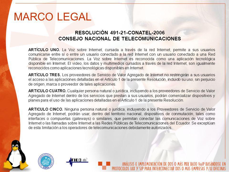 RESOLUCIÓN 491-21-CONATEL-2006 CONSEJO NACIONAL DE TELECOMUNICACIONES ARTÍCULO UNO. La Voz sobre Internet, cursada a través de la red Internet, permit