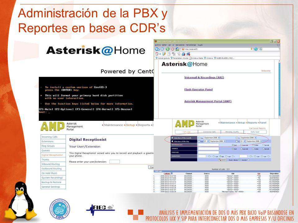 Administración de la PBX y Reportes en base a CDRs