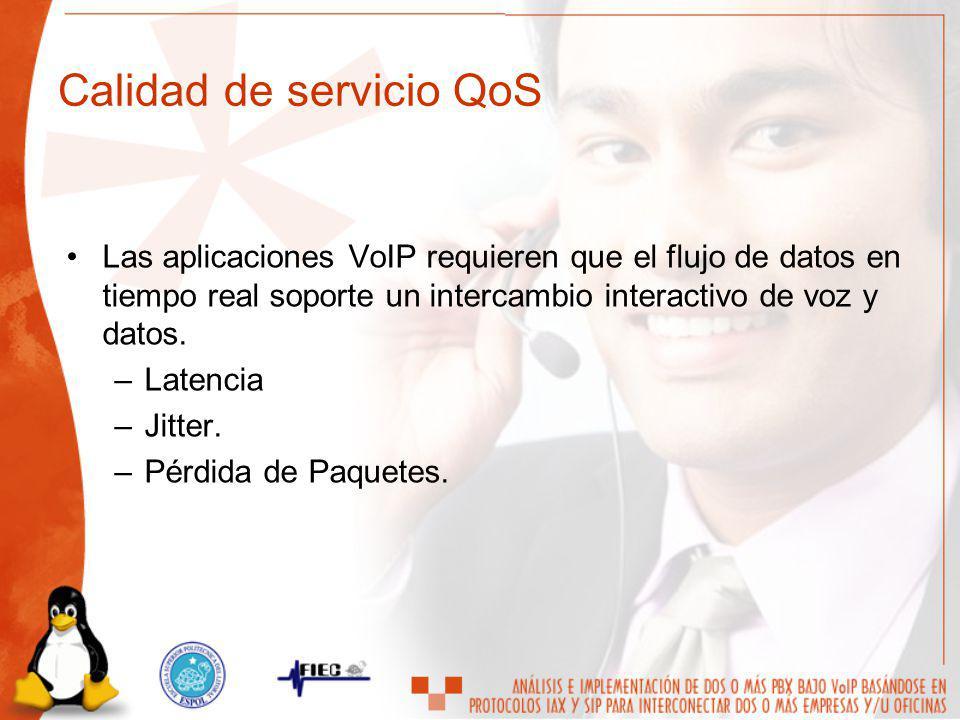 Las aplicaciones VoIP requieren que el flujo de datos en tiempo real soporte un intercambio interactivo de voz y datos. –Latencia –Jitter. –Pérdida de