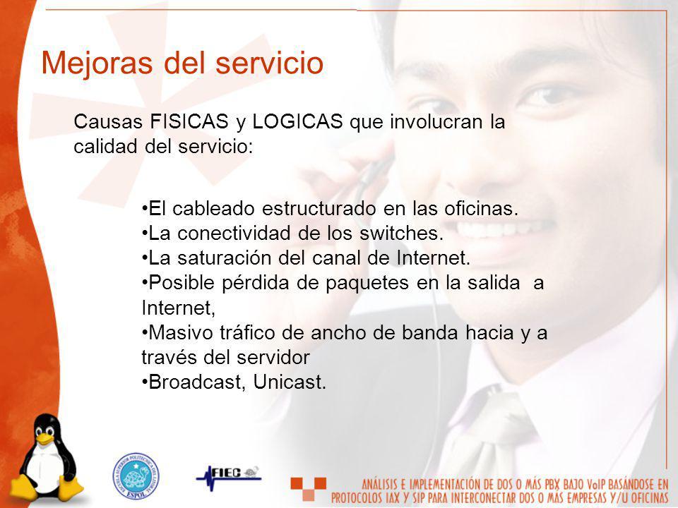 Causas FISICAS y LOGICAS que involucran la calidad del servicio: El cableado estructurado en las oficinas. La conectividad de los switches. La saturac