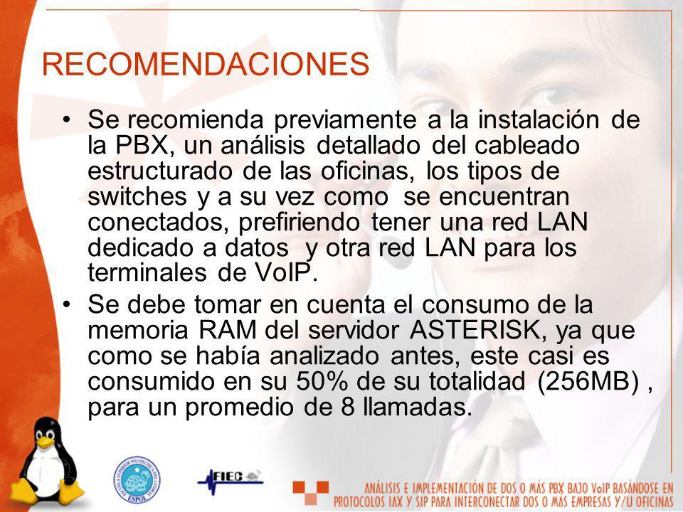 RECOMENDACIONES Se recomienda previamente a la instalación de la PBX, un análisis detallado del cableado estructurado de las oficinas, los tipos de sw