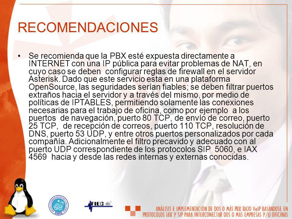 RECOMENDACIONES Se recomienda que la PBX esté expuesta directamente a INTERNET con una IP pública para evitar problemas de NAT, en cuyo caso se deben