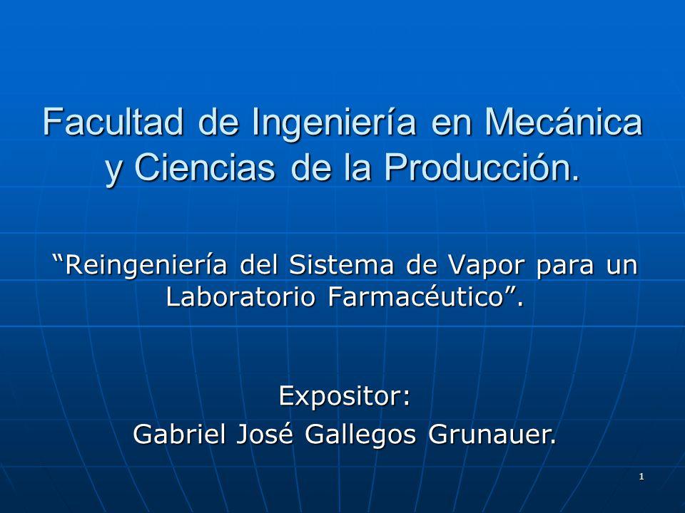 1 Facultad de Ingeniería en Mecánica y Ciencias de la Producción. Reingeniería del Sistema de Vapor para un Laboratorio Farmacéutico. Expositor: Gabri