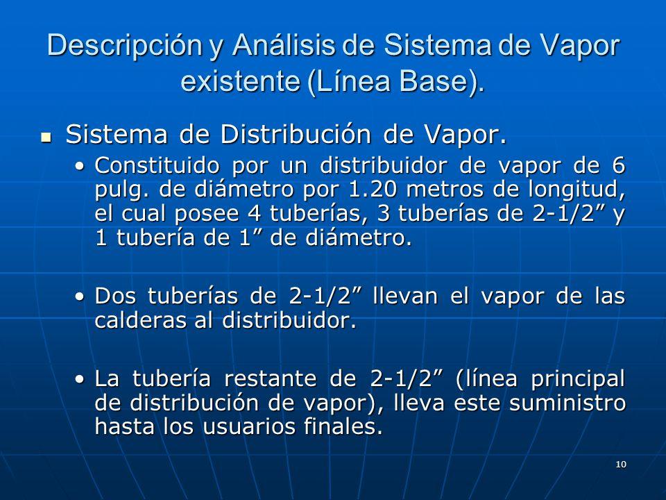 10 Descripción y Análisis de Sistema de Vapor existente (Línea Base). Sistema de Distribución de Vapor. Sistema de Distribución de Vapor. Constituido
