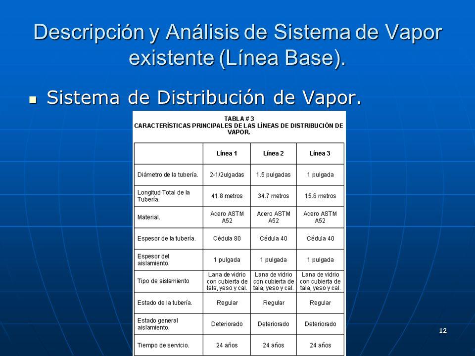 12 Descripción y Análisis de Sistema de Vapor existente (Línea Base). Sistema de Distribución de Vapor. Sistema de Distribución de Vapor.