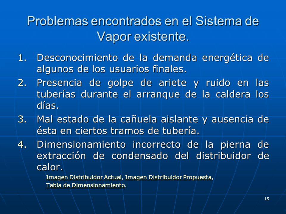 15 Problemas encontrados en el Sistema de Vapor existente. 1.Desconocimiento de la demanda energética de algunos de los usuarios finales. 2.Presencia