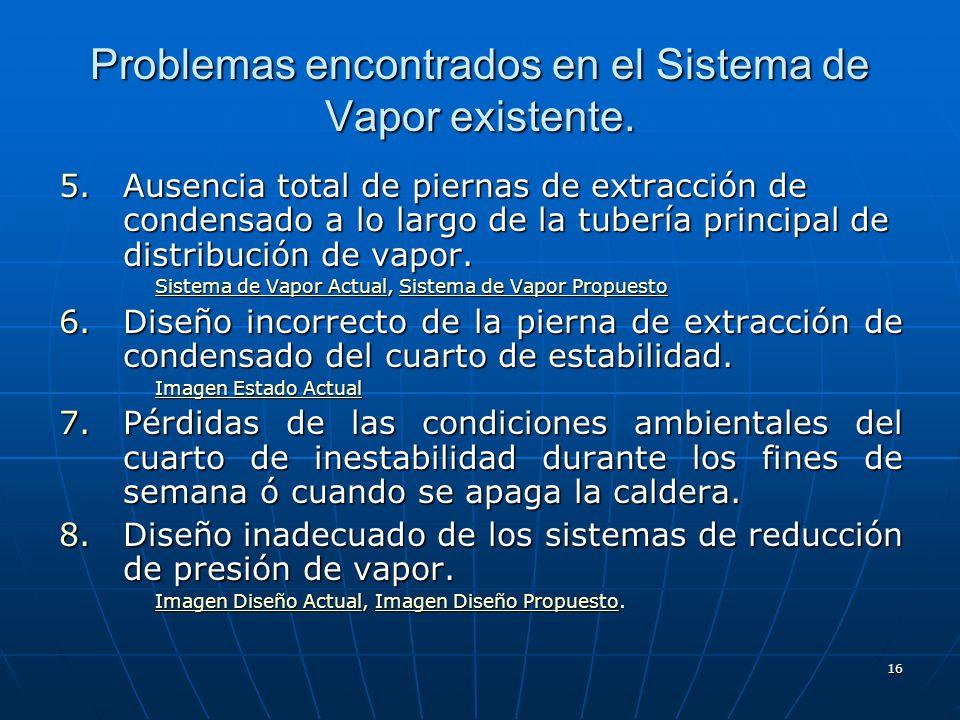 16 5.Ausencia total de piernas de extracción de condensado a lo largo de la tubería principal de distribución de vapor. Sistema de Vapor ActualSistema