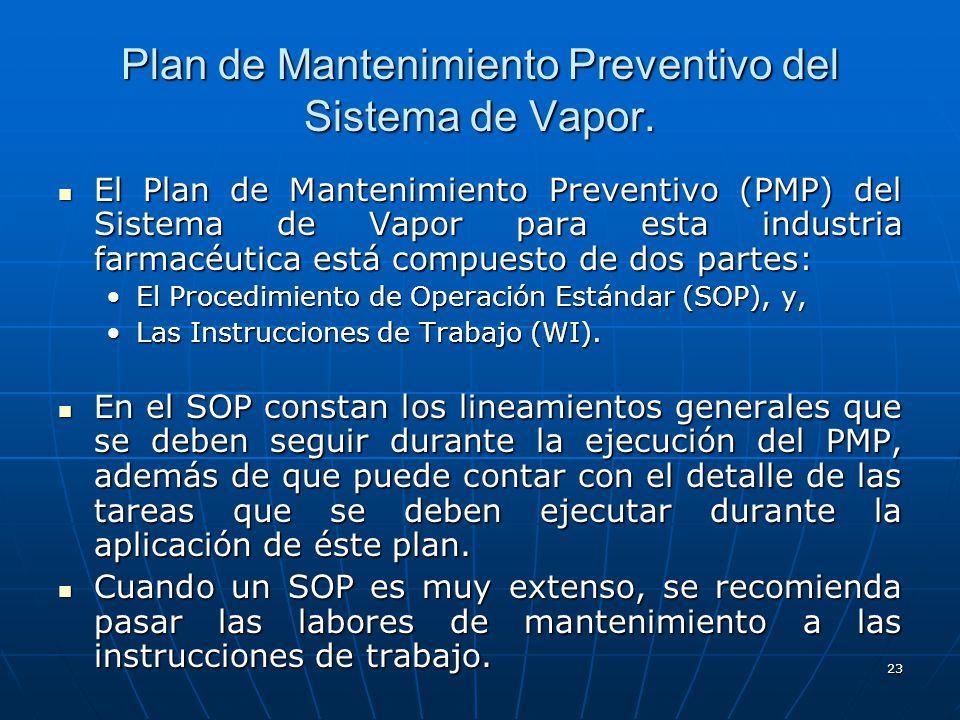 23 El Plan de Mantenimiento Preventivo (PMP) del Sistema de Vapor para esta industria farmacéutica está compuesto de dos partes: El Plan de Mantenimie