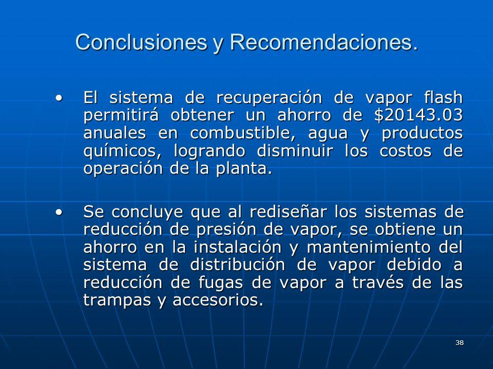 38 Conclusiones y Recomendaciones. El sistema de recuperación de vapor flash permitirá obtener un ahorro de $20143.03 anuales en combustible, agua y p