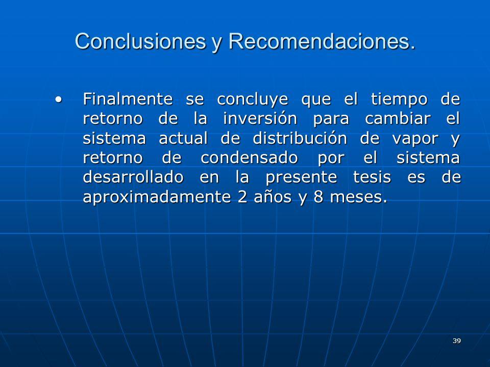 39 Conclusiones y Recomendaciones. Finalmente se concluye que el tiempo de retorno de la inversión para cambiar el sistema actual de distribución de v