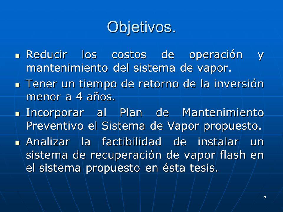 4 Reducir los costos de operación y mantenimiento del sistema de vapor. Reducir los costos de operación y mantenimiento del sistema de vapor. Tener un