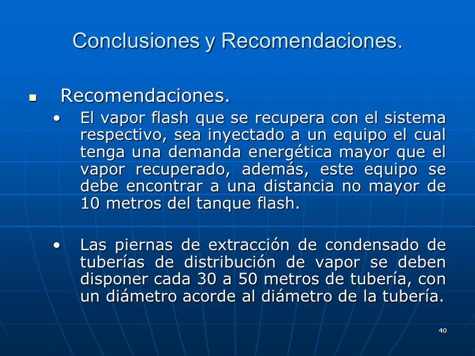40 Conclusiones y Recomendaciones. Recomendaciones. Recomendaciones. El vapor flash que se recupera con el sistema respectivo, sea inyectado a un equi