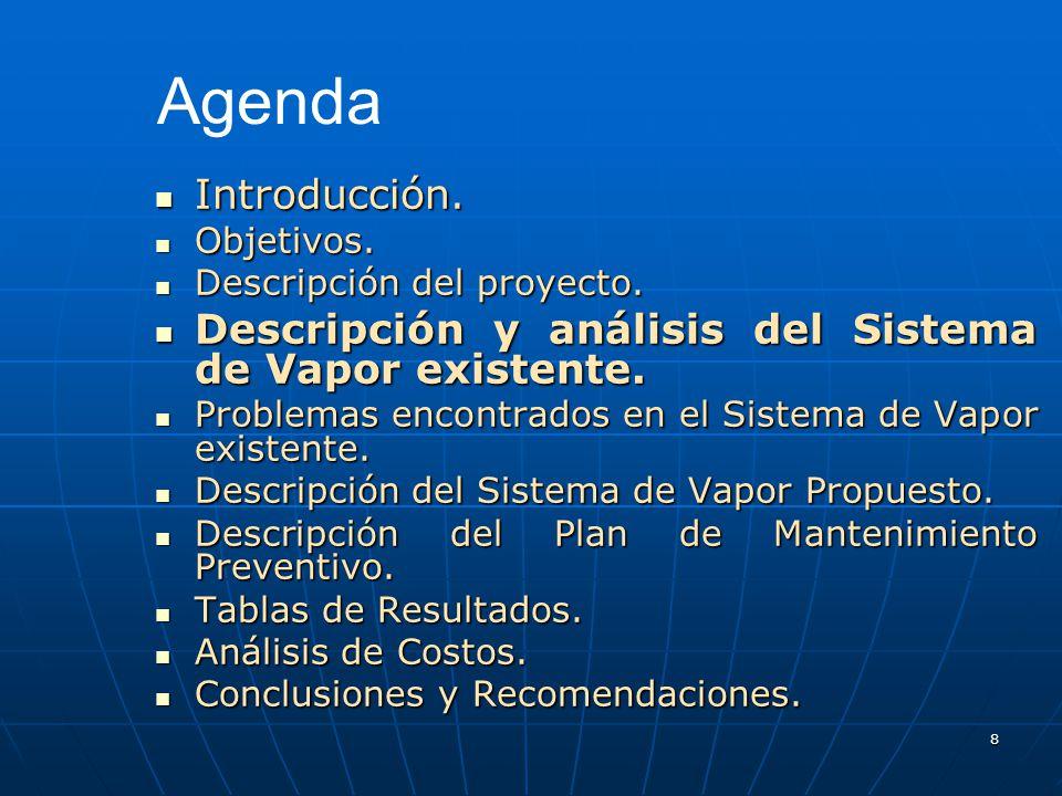 8 Introducción. Introducción. Objetivos. Objetivos. Descripción del proyecto. Descripción del proyecto. Descripción y análisis del Sistema de Vapor ex