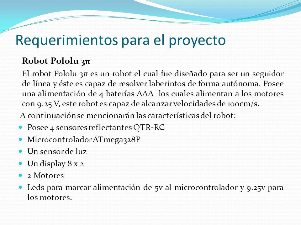 Requerimientos para el proyecto Robot Pololu 3π El robot Pololu 3π es un robot el cual fue diseñado para ser un seguidor de línea y éste es capaz de resolver laberintos de forma autónoma.